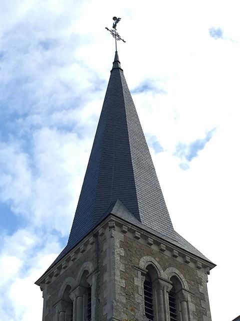 Peltier Charpentier Mayenne 53 Clocher Église Ardoises
